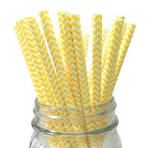Yellow Chevron Striped 25pc Paper Straws.