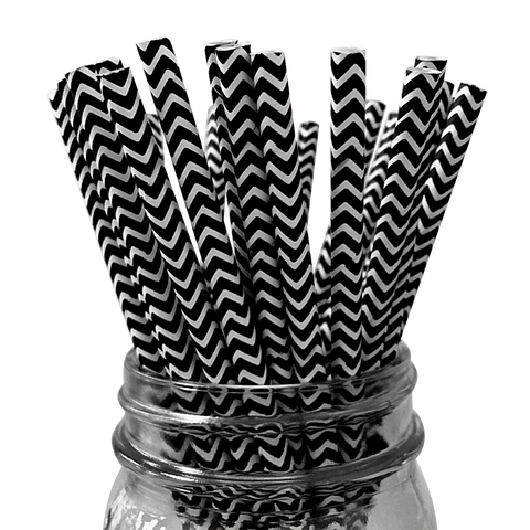Black Chevron Striped 25pc Paper Straws.