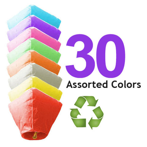 30 Assorted Color ECO Diamond Sky Lanterns
