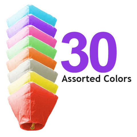 30 Assorted Color Diamond Sky Lanterns