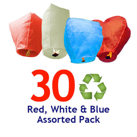 30 ECO Red, White, & Blue Assorted Shapes Sky Lanterns.