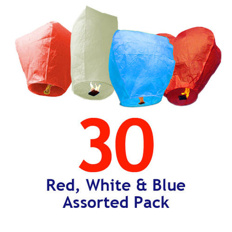30 Red, White, & Blue Assorted Shapes Sky Lanterns.