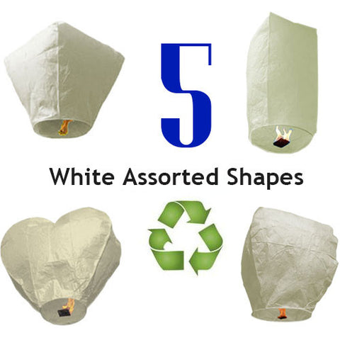5 White Biodegradable Sky Lanterns