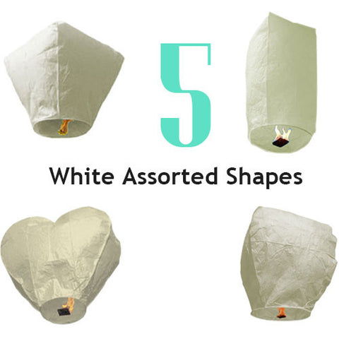 5 White Assorted Shapes Sky Lanterns.