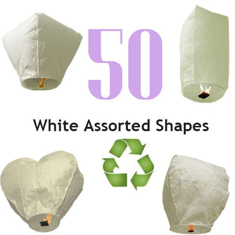 50 ECO White Assorted Shapes Sky Lanterns.