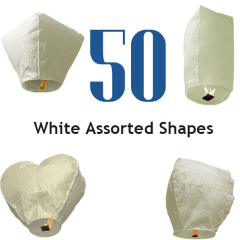 50 White Assorted Shapes Sky Lanterns.
