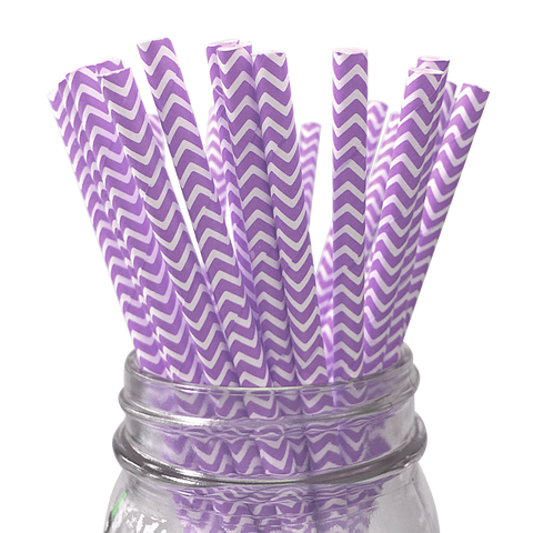 Lavender Chevron Striped 25pc Paper Straws