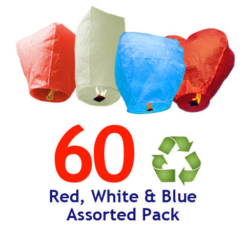 60 ECO Red, White, & Blue Assorted Shapes Sky Lanterns
