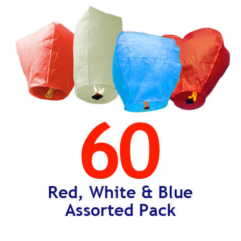 60 Red, White, & Blue Assorted Shapes Sky Lanterns