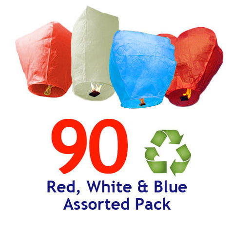 90 ECO Red, White, & Blue Assorted Shapes Sky Lanterns