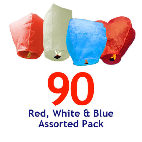 90 Red, White, & Blue Assorted Shapes Sky Lanterns