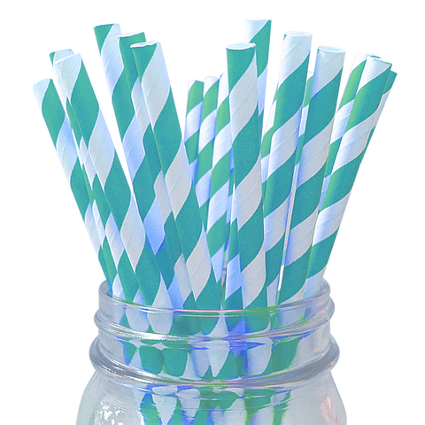 Aqua Striped 25pc Paper Straws.