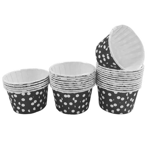 Black with White Polka Dot 10pc Mini Paper Cups.