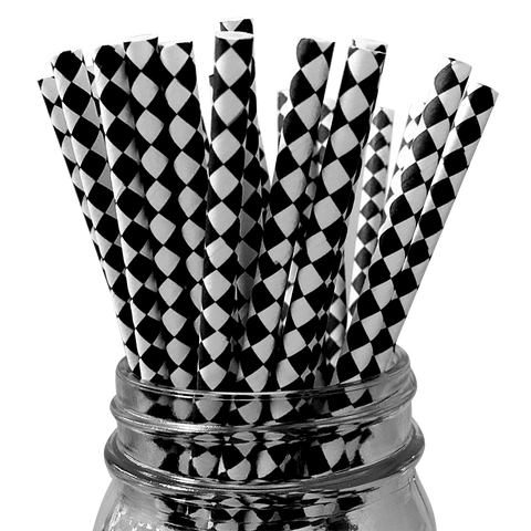 Black Harlequin Diamond 25pc Paper Straws