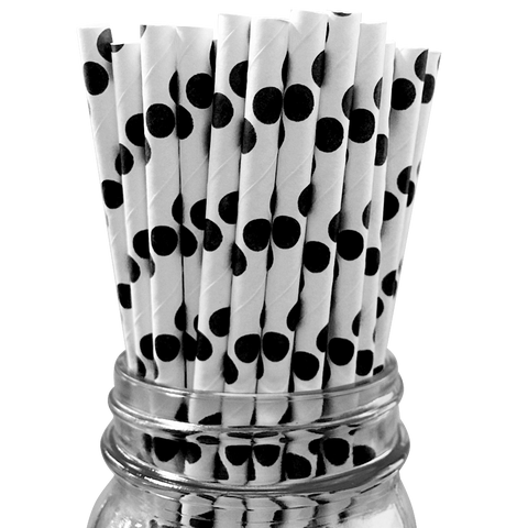 Black Polka Dot 25pc Paper Straws