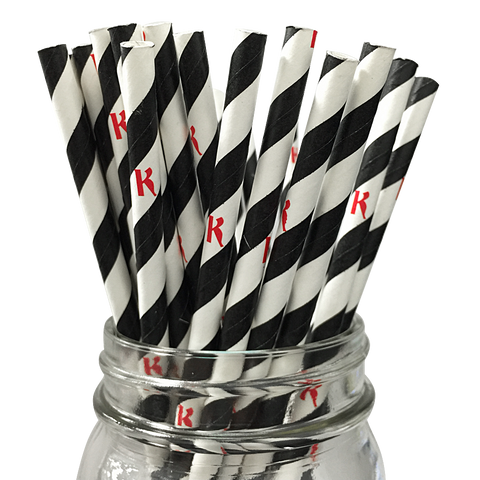 Black Stripe K 25pc Paper Straws.