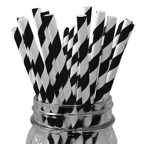 Black Striped 25pc Paper Straws.