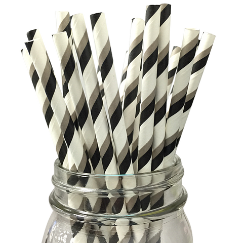 Black and Grey Striped 25pc Paper Straws.