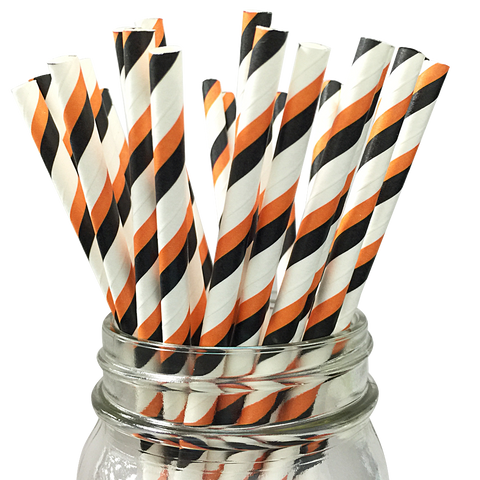 Black and Orange Striped 25pc Paper Straws.