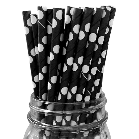 Black with White Polka Dot 25pc Paper Straws.