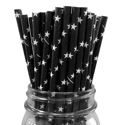 Black with White Stars 25pc Paper Straws.