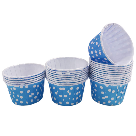 Blue with White Polka Dot 10pc Mini Paper Cups