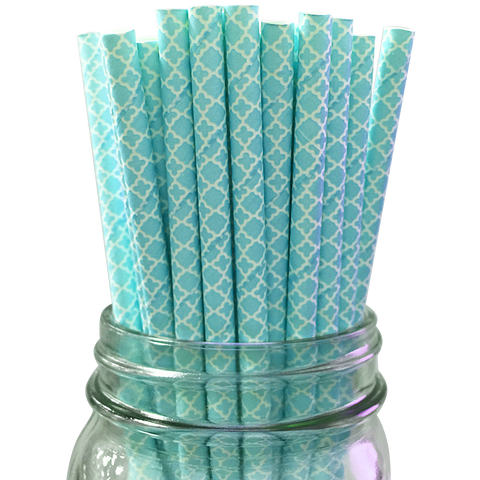 Blue Damask 25pc Paper Straws.