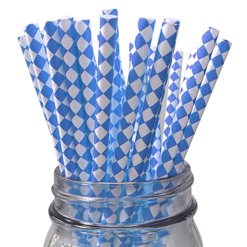 Blue Harlequin Diamond 25pc Paper Straws