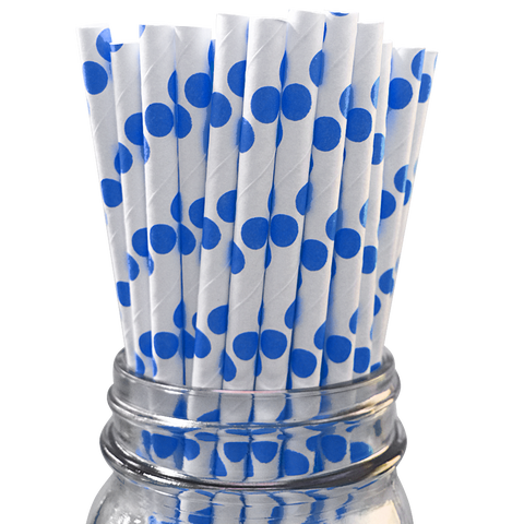 Blue Polka Dot 25pc Paper Straws