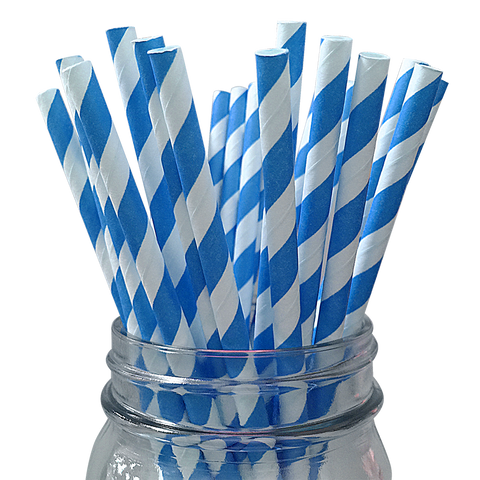 Blue Striped 25pc Paper Straws