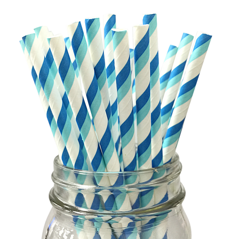 Blue and Aqua Striped 25pc Paper Straws.