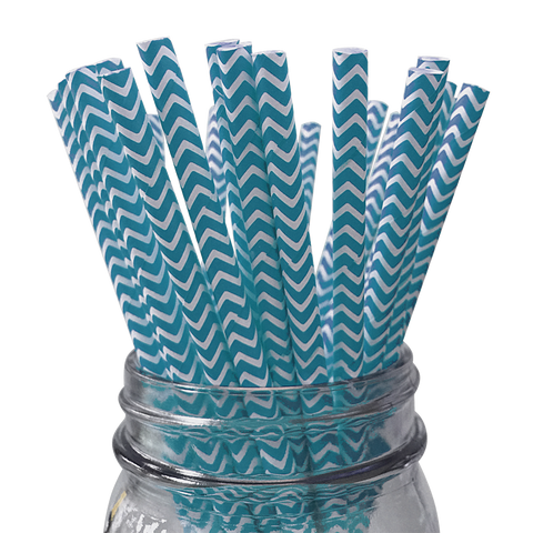 Blue Chevron Striped 25pc Paper Straws