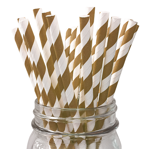 Brown Striped 25pc Paper Straws