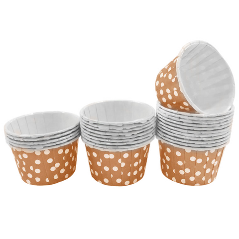 Brown with White Polka Dot Mini Cupcake Paper Cups
