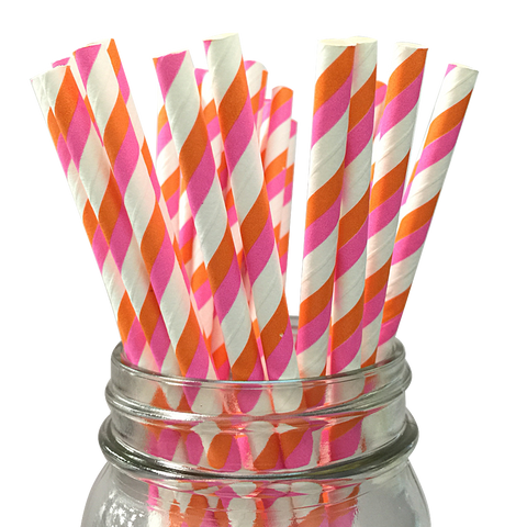 Bubblegum Pink and Orange Striped 25pc Paper Straws