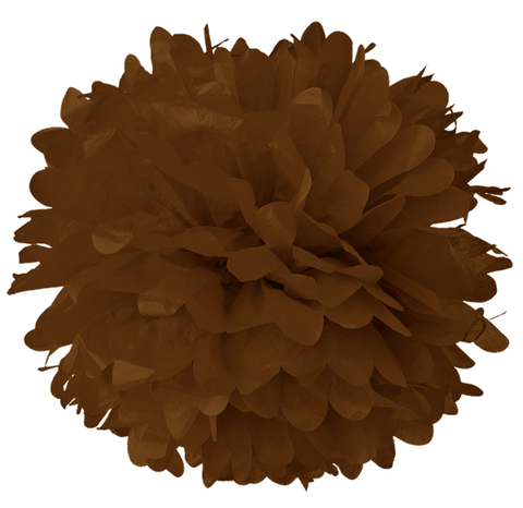 "10"" Chocolate Tissue Pom Poms."