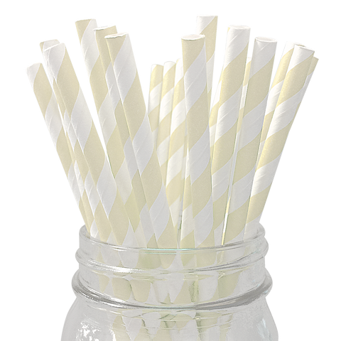 Ivory Striped 25pc Paper Straws