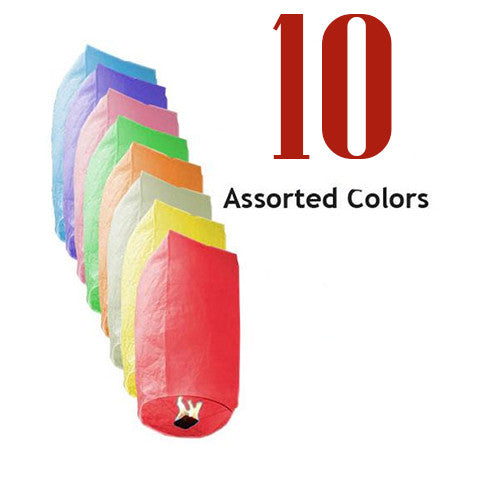 10 Assorted Color Cylinder Sky Lanterns