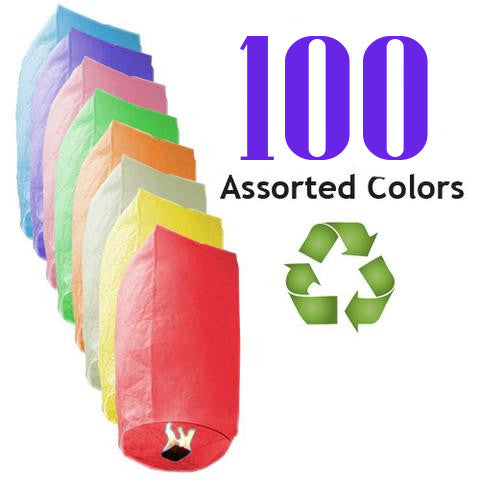 100 Assorted Color ECO Cylinder Sky Lanterns.
