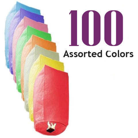 100 Assorted Color Cylinder Sky Lanterns.