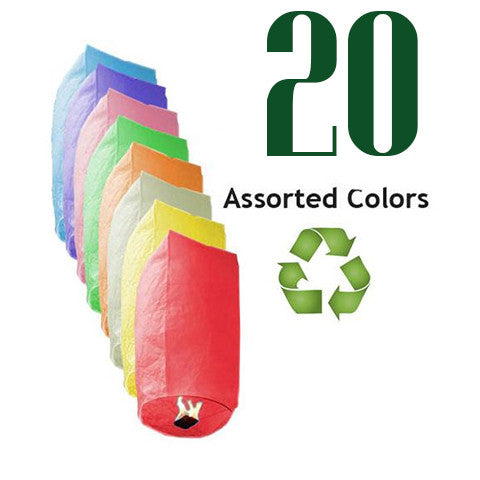 20 Assorted Color ECO Cylinder Sky Lanterns.