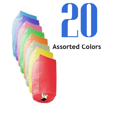20 Assorted Color Cylinder Sky Lanterns