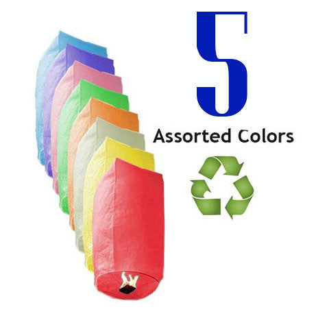Five Assorted Color Cylinder Sky Lanterns - Fully Biodegradable and Fully Assembled