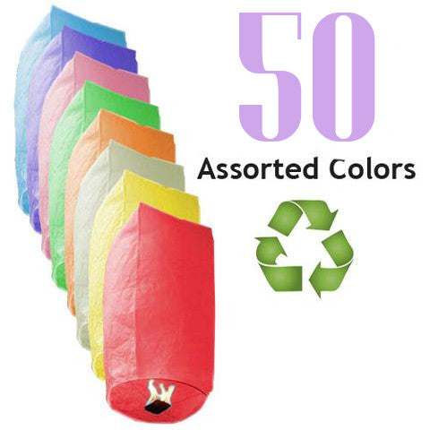50 Assorted Color ECO Cylinder Sky Lanterns