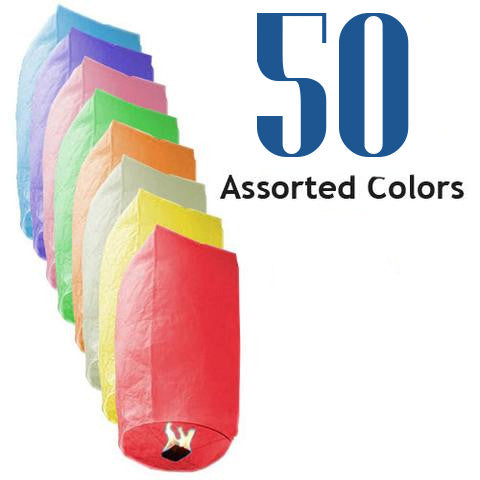 50 Assorted Color Cylinder Sky Lanterns