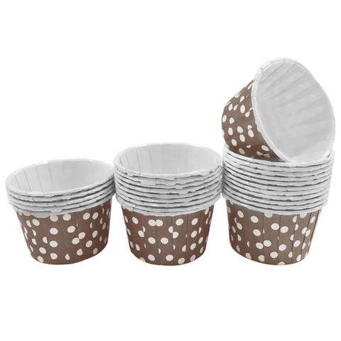 Dark Brown with White Polka Dot 10pc Mini Paper Cups.