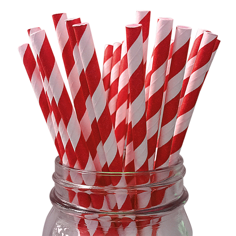 Dark Red Striped 25pc Paper Straws.
