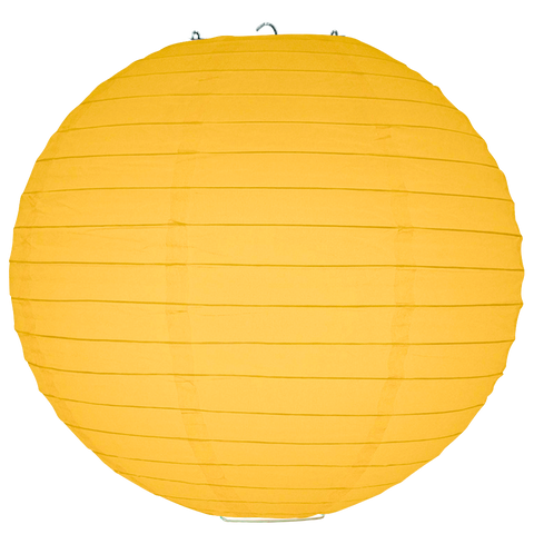 Dark Yellow Ribbed Paper Lanterns