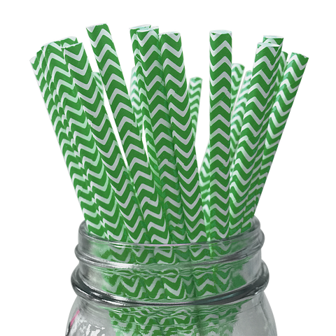 Dark Green Chevron Striped 25pc Paper Straws