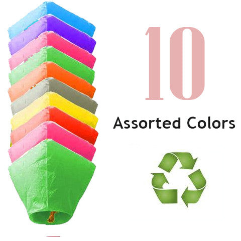 10 Assorted Color ECO Diamond Sky Lanterns.